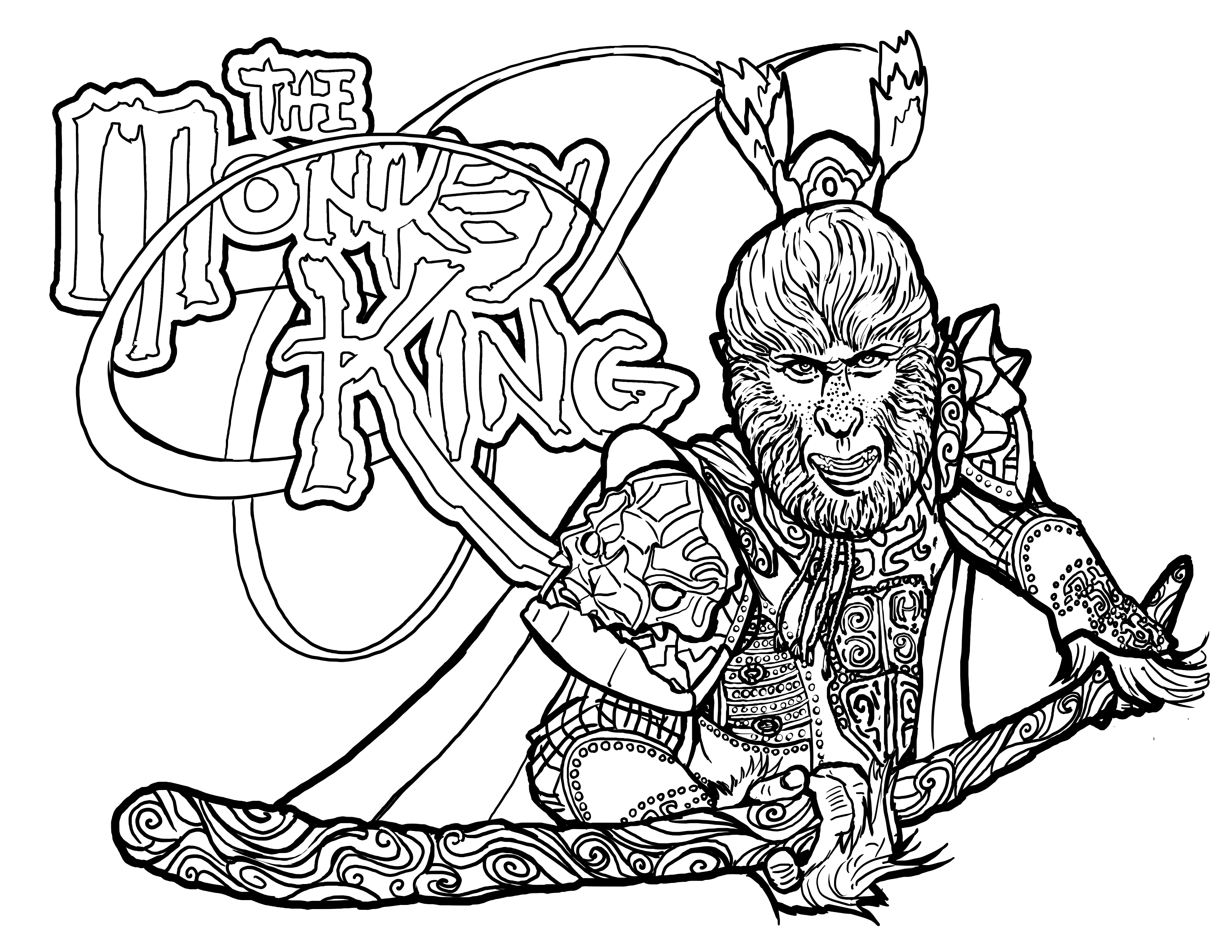 coloring page the monkey king